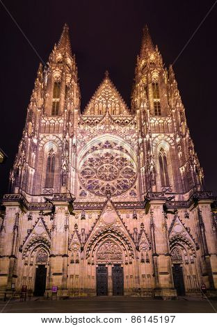 Prague, Czech Republic - January 25, 2015: Cathedral of St. Vitus in the night
