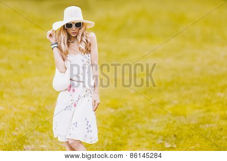 Romantic Lady In The Park. Summer Look