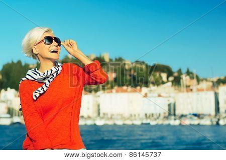 Laughing Stylish Blonde On Vacation. Travel. Marine Style Fashion
