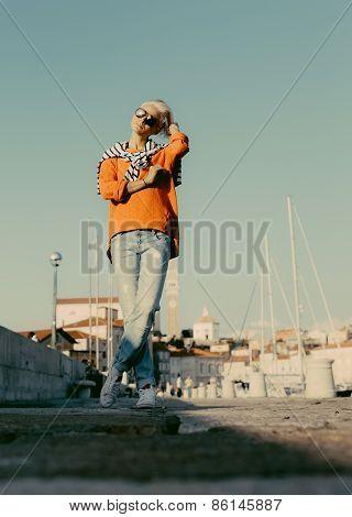 Stylish Blonde On Vacation. Travel. Marine Style