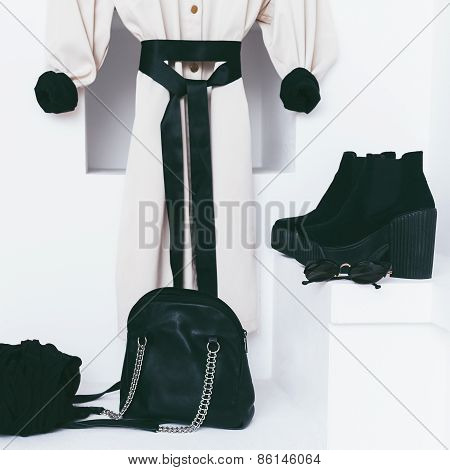 Women's Fashion Accessories In White Interior. Modern Combination Black And White Style Of Clothing.