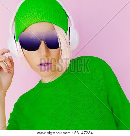 Glamorous Fashion Lady In Bright Clothes Listening To Music.