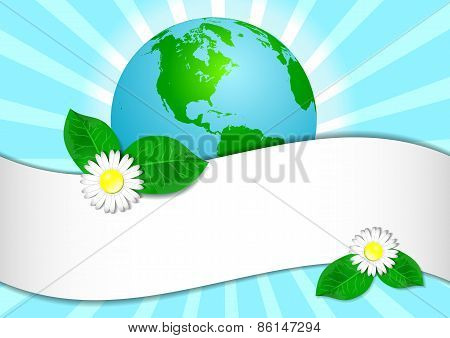 Postcard On April 22 - Earth Day. Globe With Sticker For Text