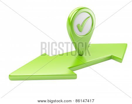 Green Dual  Direction Arrow With Check Mark And Map Pointer