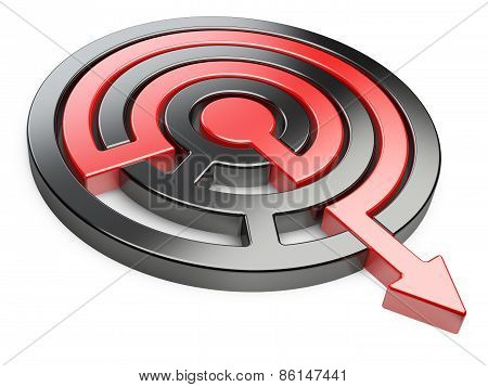 3D Circle Maze With Red Arrow