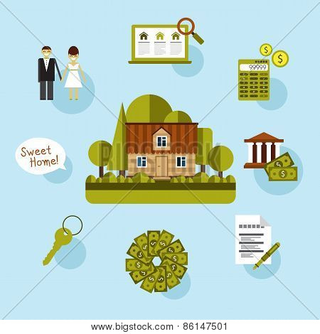Elements of info-graphic showing process getting loan.