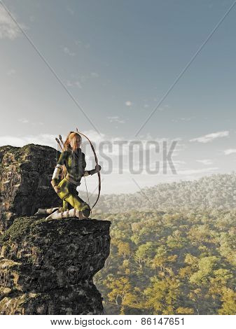 Blonde Female Elf Archer above the Forest