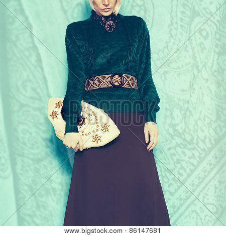 Boho Style Glamorous Lady. Spring Fashion Accessories. Ethno Belt, Bag