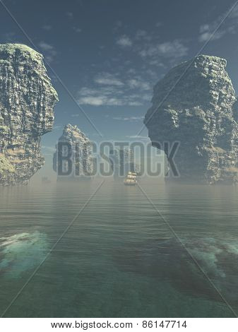 Sailing Ship and Giant Sea Stacks