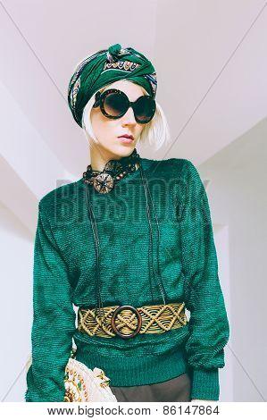 Boho Style Glamorous Lady. Spring Fashion Accessories. Sunglasses, Scarf, Bag