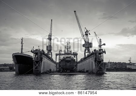 Floating Dry Dock With Old Ship Under Repair Inside