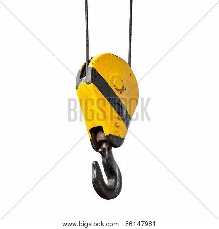 Crane Hook Hanging On Ropes Isolated On White