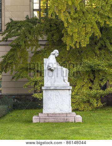 Statue And Facade Of Humboldt University In Berlin