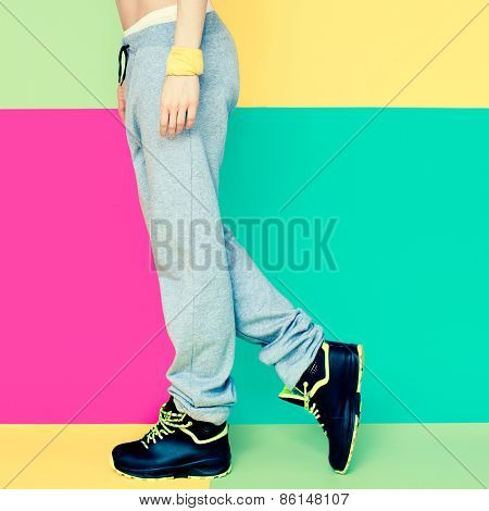 Legs, Dancer On Bright Background. Fashion Sports Style