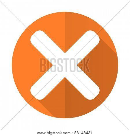 cancel orange flat icon x sign