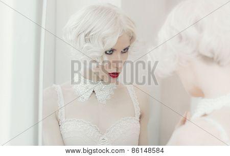Sensual Blond Woman. Reflection In The Mirror. Necklace. Underwear. Luxury Style. Wedding