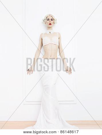 Sensual Blond Woman In White Interior. Underwear. Luxury Style. Wedding Style.