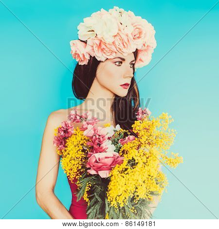 Sensual Fashion Lady. Flowers, Spring, Romance, March 8