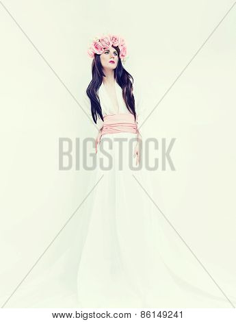 Portrait Of A Romantic Bride Lady On White Background. Wedding Fashion Trend