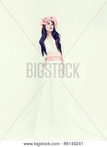 Portrait Of A Romantic Bride Lady On White Background. Wedding Fashion Trend