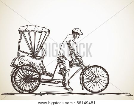 Sketch of cycle rickshaw