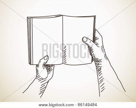 Sketch of hand holding book.