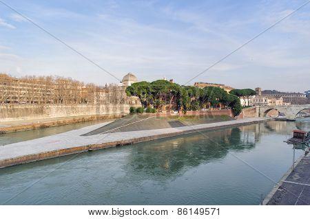 Tiber Island In Rome
