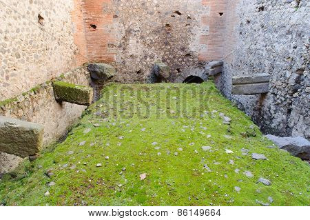 Ruined Toilet In Pompeii.