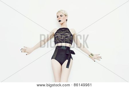 Portrait Sensual Blond Lady In Luxurious Erotic Lingerie. Fashion Style.