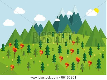 Nature landscape,   trees, mountains and cloudy sky layers flat illustration.
