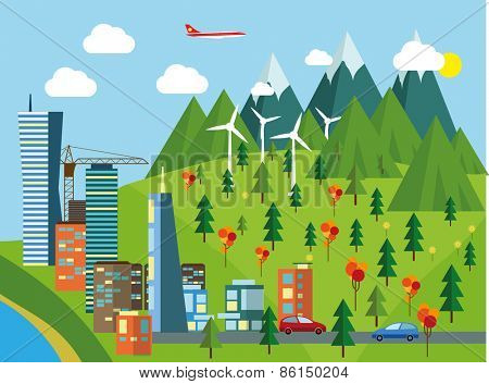 Ecology Concept   eco cityscape. Flat style vector illustration.