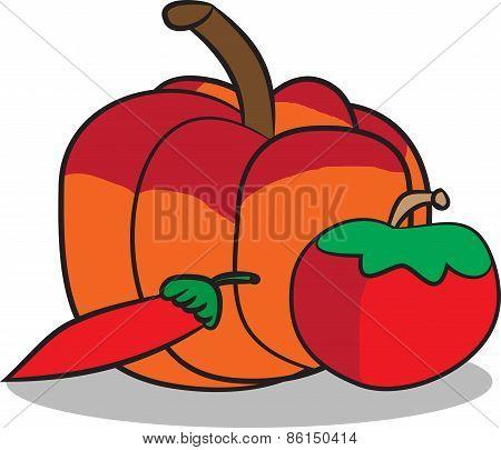 Pumpkin tomato and pepper illustration