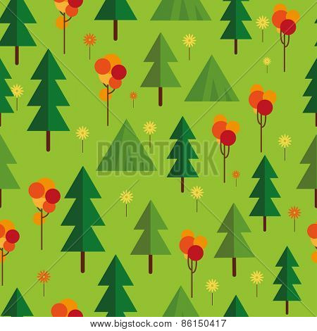 Flat seamless pattern with  trees. Abstract texture with trees. Fir forest.