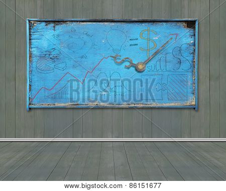 Old Blue Weathered Noticeboard With Business Concept Doodles