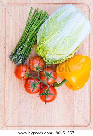 Fresh Vegetables On Wooden Cutting Board, Healthy Food.