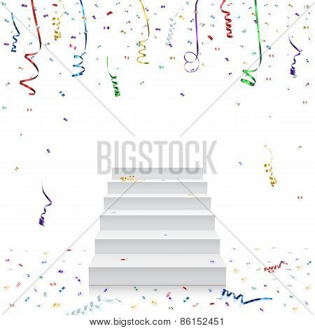 Celebration background template with stairs and konfetti.