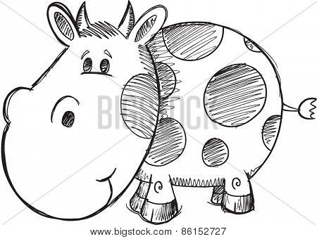 Doodle Sketch Cow Vector Illustration Art