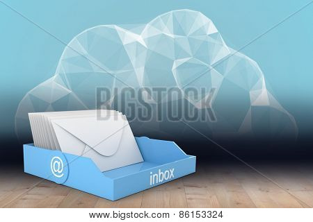 Blue inbox against cloud computing in room