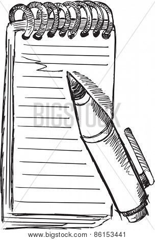 Doodle Sketch Notepad Pen Vector Illustration Art