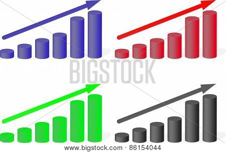 Set Of Multicolored Charts Growth