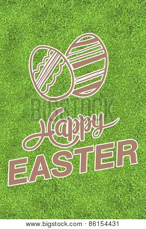happy easter graphic against astro turf surface