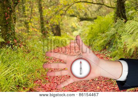 Hand with fingers spread out against peaceful autumn scene in forest