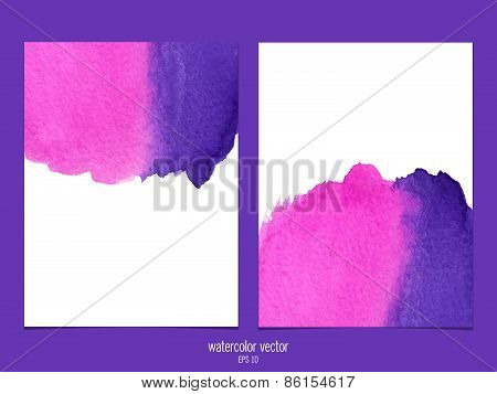 Vector background with watercolor pink and purple.