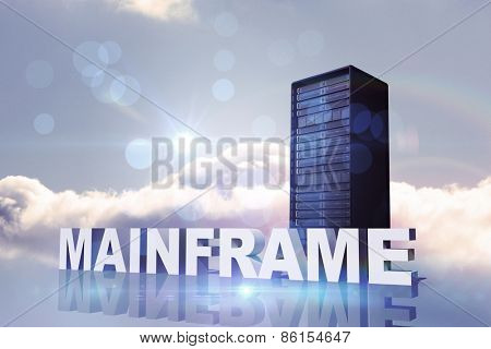 mainframe against bright blue sky with cloud