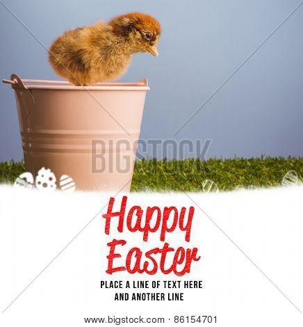 happy easter against stuffed chick in pink bucket