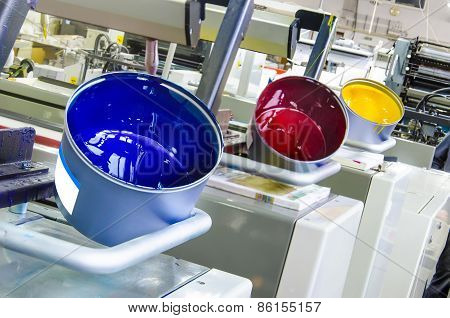 printing ink pot with cyan red yellow color