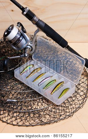 Fishing Rod And Reel With Box For Baits.