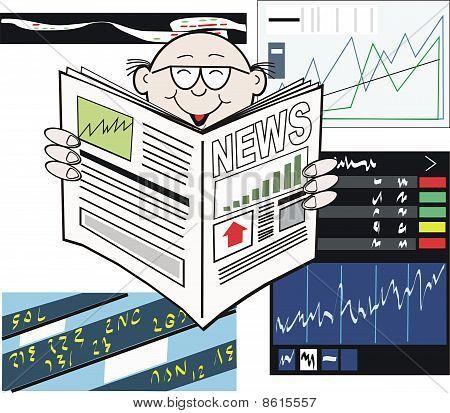 Stock market newspaper cartoon