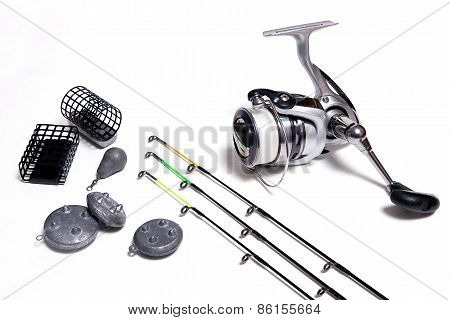 Fishing Accessories On White Background.