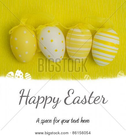 easter eggs on grass outline against happy easter